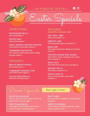 Easter Specials Menu