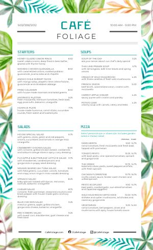 Cafe Foliage Menu