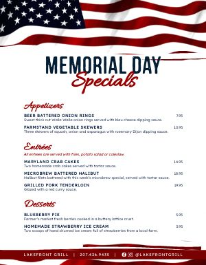 Memorial Day Flag Menu