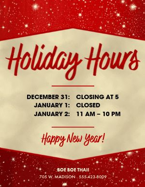 New Years Eve Hours Flyer