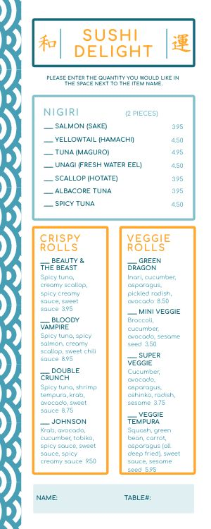 Sushi Choices Half Page Menu