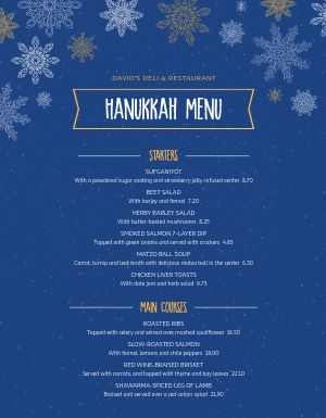 Hanukkah Snow Menu