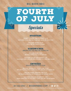 July 4th Holiday Menu