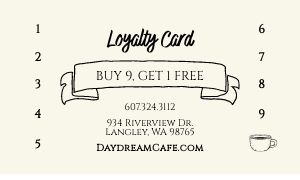Cafe Customer Card