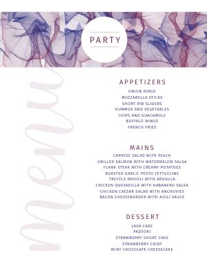 Elegant Party Menu