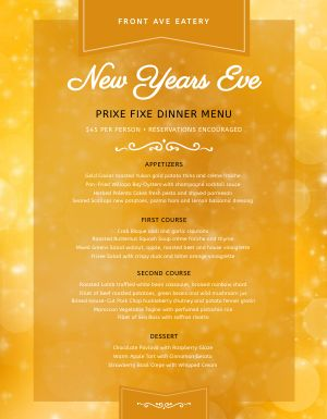 Fiery New Years Eve Menu