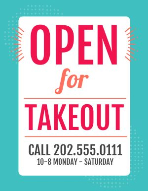 Open for Takeout Flyer