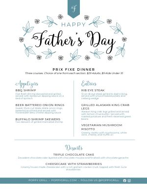 Fathers Day Dinner Menu