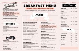 Breakfast Cafe Placemat Menu