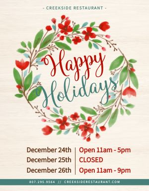 Holiday Closure Flyer