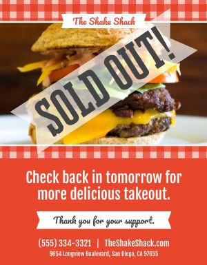 Burger Sold Out Flyer