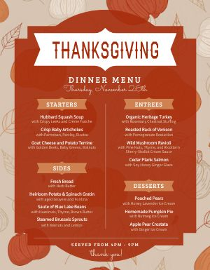 Autumn Thanksgiving Menu