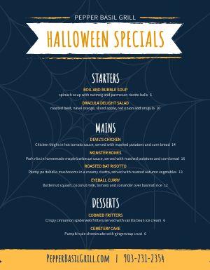 Halloween Grill Menu