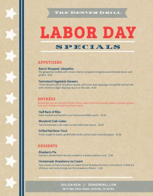 Labor Day Specials Menu