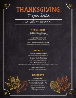 Thanksgiving Bistro Menu