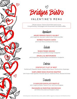 Valentines Day Bistro Menu