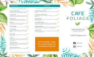 Cafe Foliage Takeout Menu