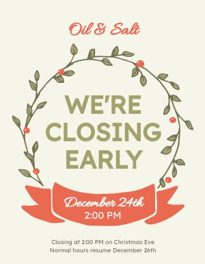 Christmas Closing Hours Flyer