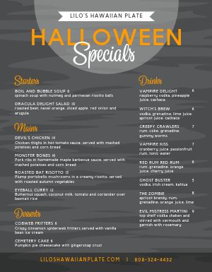 Halloween Cafe Menu