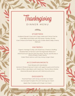 Thanksgiving Holiday Menu