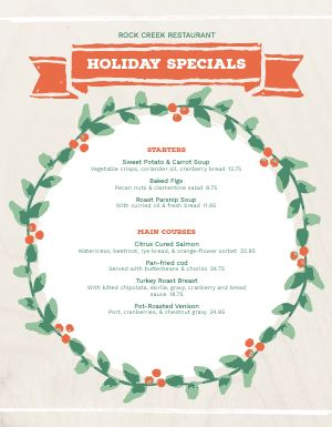 Christmas Wreath Specials Menu