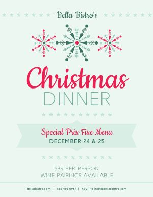Christmas Prix Fixe Dinner Flyer