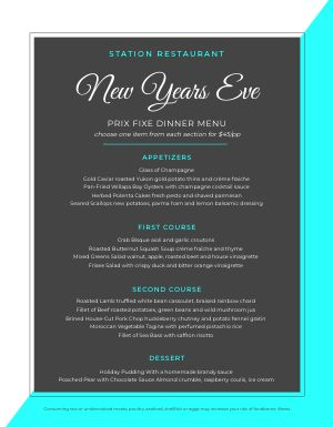 Colorsplit New Years Menu