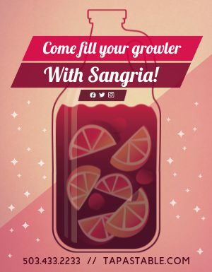 Sangria Growler Flyer