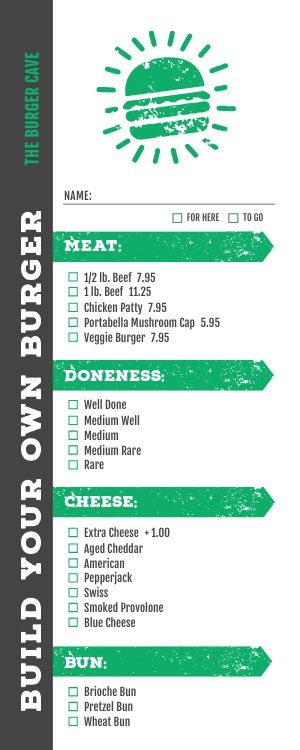 Burger Creation Half Page Menu