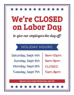 Closed Labor Day Flyer