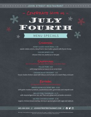 Fourth of July Menu