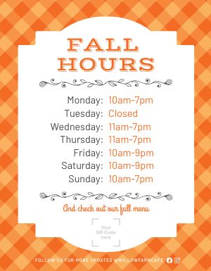 Fall Hours Sign