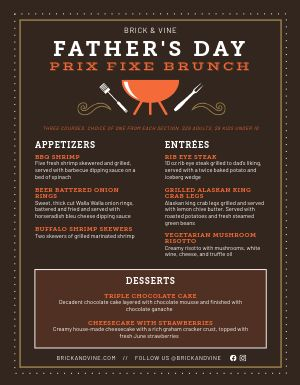 Fathers Day Brunch Menu