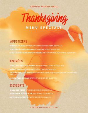 Watercolor Thanksgiving Menu