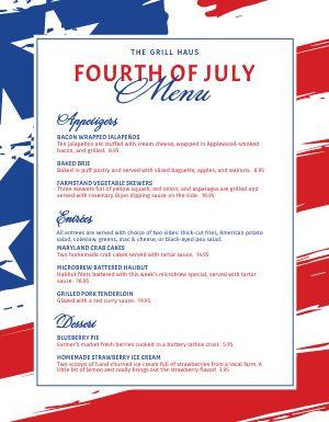 Fourth of July Holiday Menu