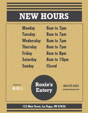 New Hours Sign Flyer