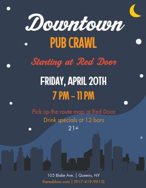 Downtown Pub Crawl Flyer