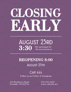 Closing Hours Flyer