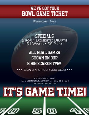 Football Bowl Game Flyer