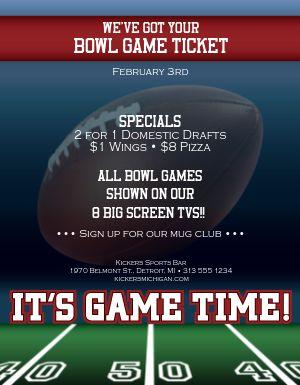 Football Bowl Game Flyer