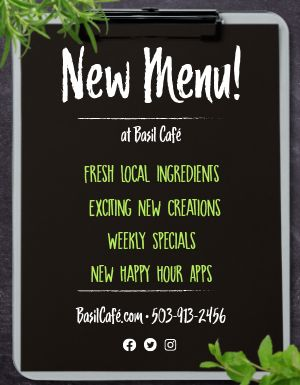 New Menu Announcement Flyer