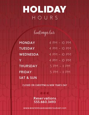 Holiday Store Hours Flyer