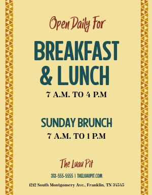 Breakfast Hours Flyer
