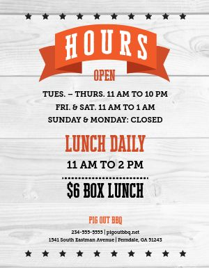 BBQ Restaurant Hours Flyer