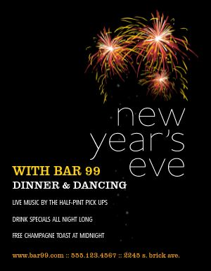 New Years Restaurant Flyer