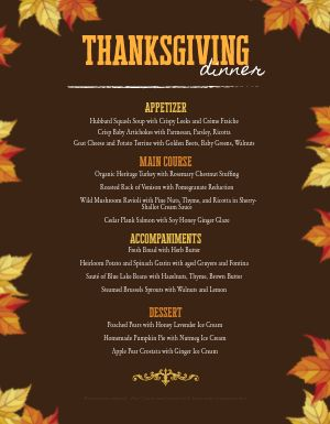 Thanksgiving Leaves Menu