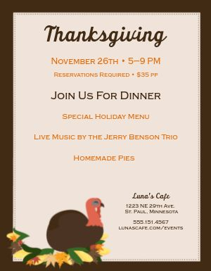 Thanksgiving Restaurant Flyer