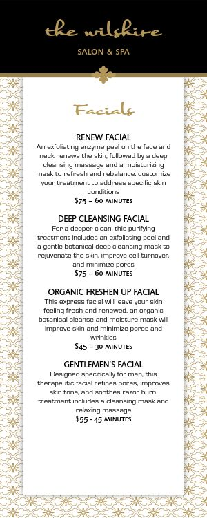 Salon Services Menu