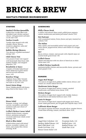 English Pub Menu