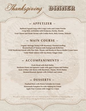 Rustic Thanksgiving Menu